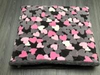 Slaapzak L grijs roze hart